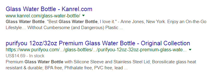 Glass Water Bottle URL Example