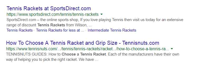 Tennis Rackets URL Example